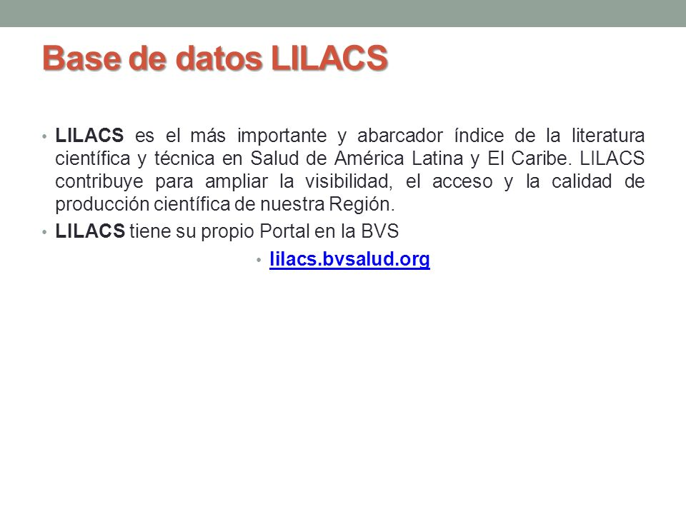 Base de datos LILACS