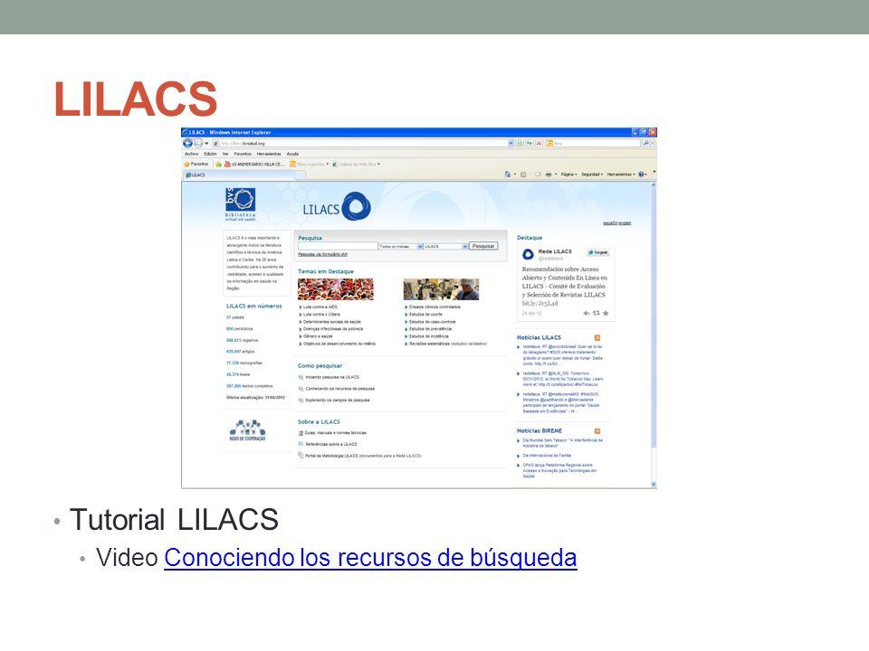 LILACS Tutorial LILACS Video Conociendo los recursos de búsqueda