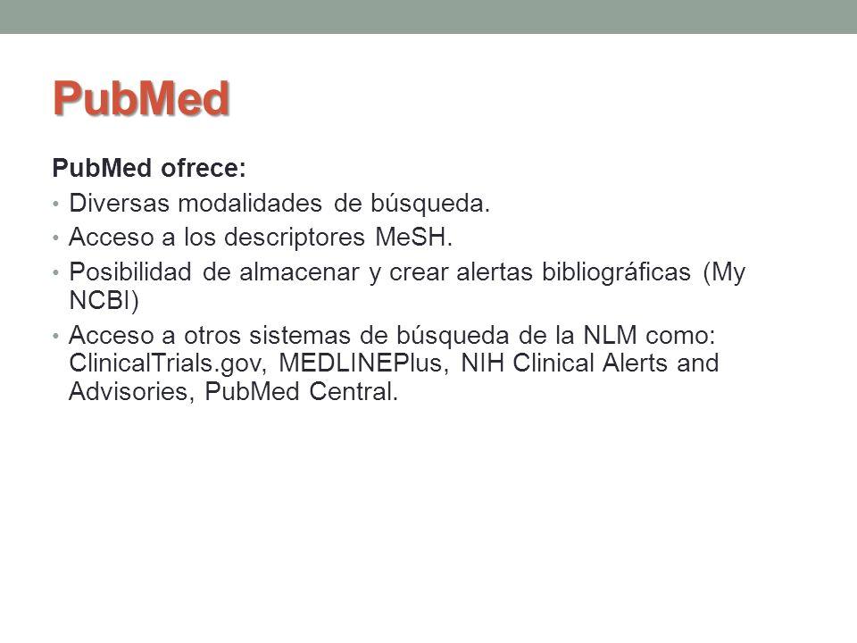 PubMed PubMed ofrece: Diversas modalidades de búsqueda.
