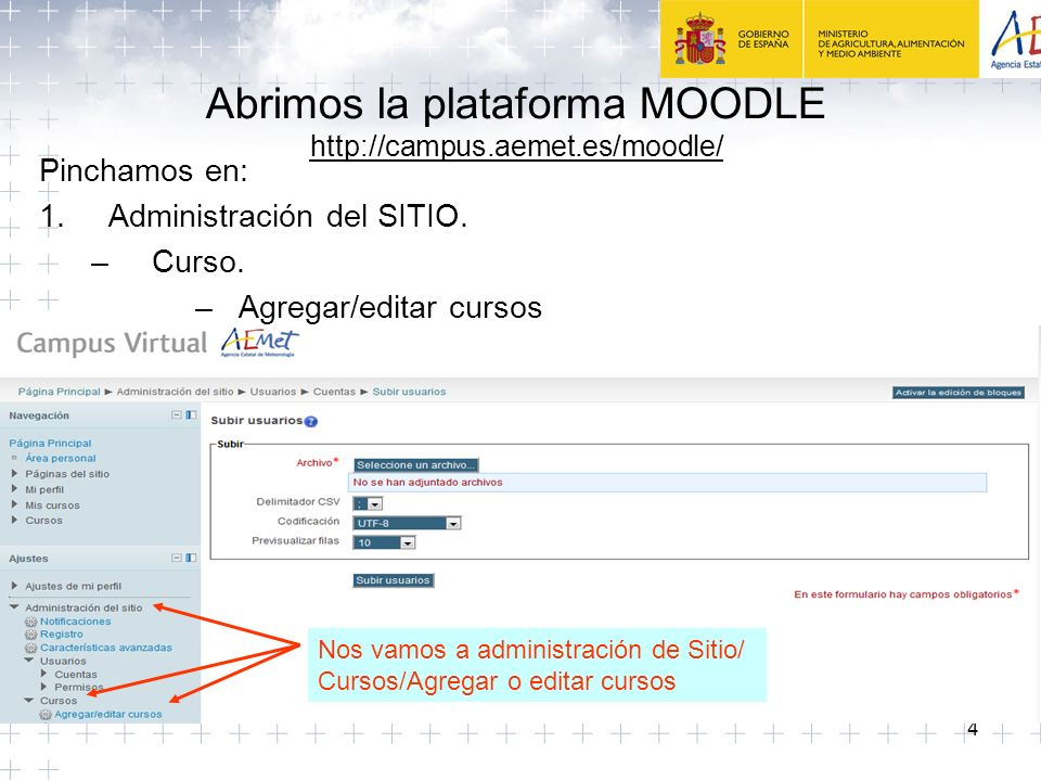 Abrimos la plataforma MOODLE http://campus.aemet.es/moodle/