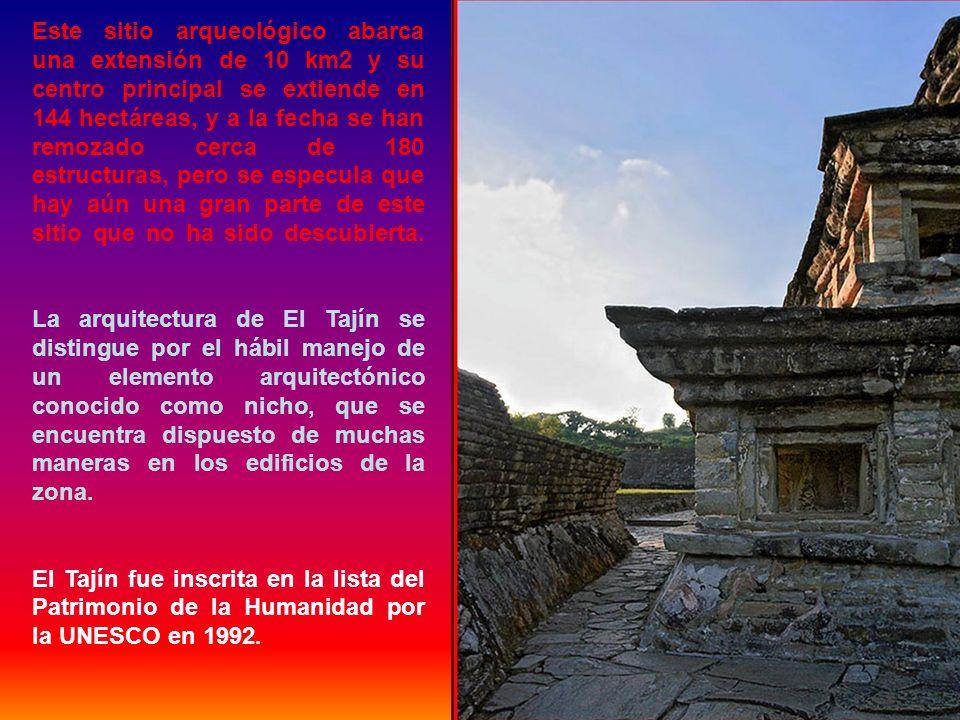 Este sitio arqueológico abarca una extensión de 10 km2 y su centro principal se extiende en 144 hectáreas, y a la fecha se han remozado cerca de 180 estructuras, pero se especula que hay aún una gran parte de este sitio que no ha sido descubierta.