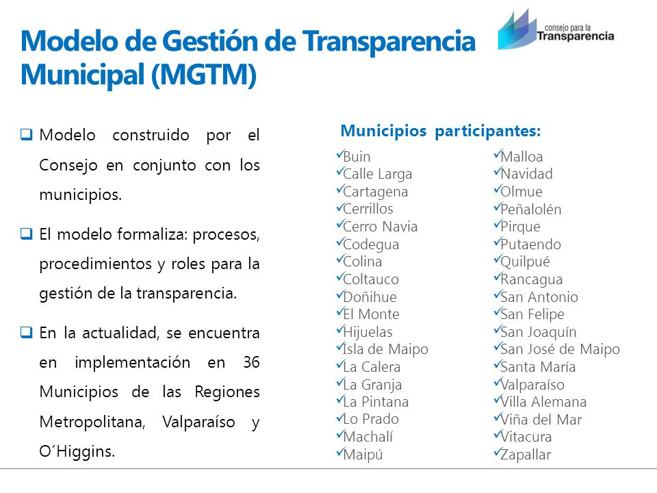 Modelo de Gestión de Transparencia Municipal (MGTM)