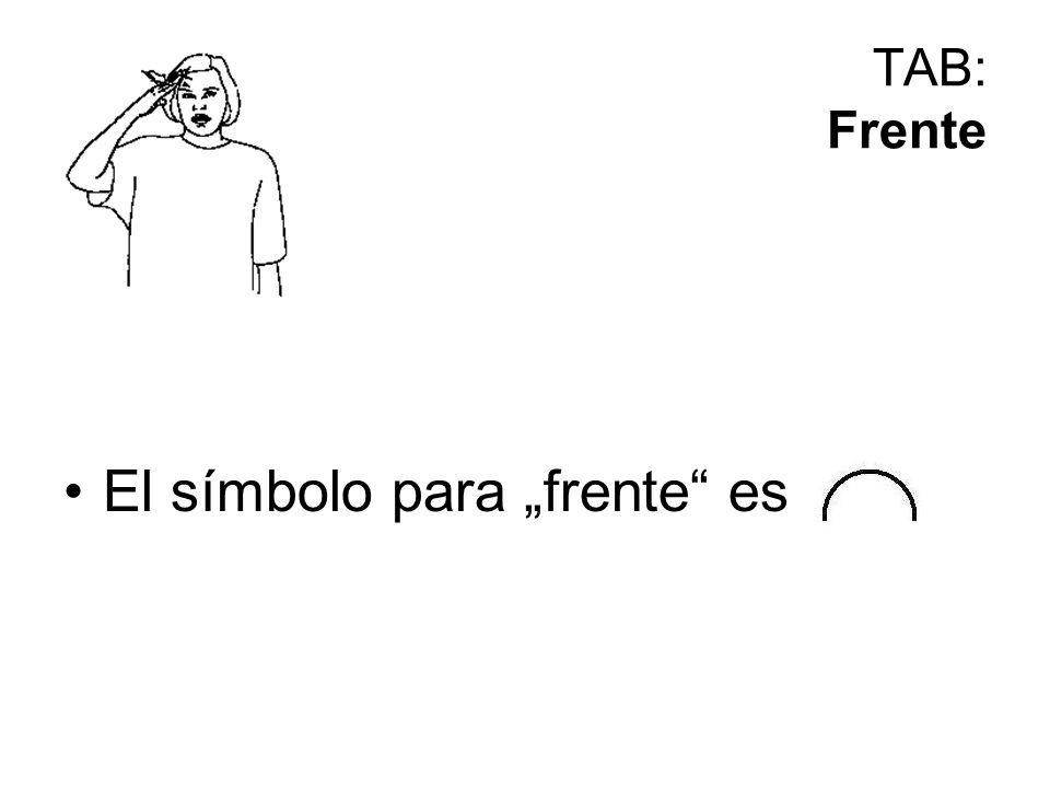 """El símbolo para """"frente es"""