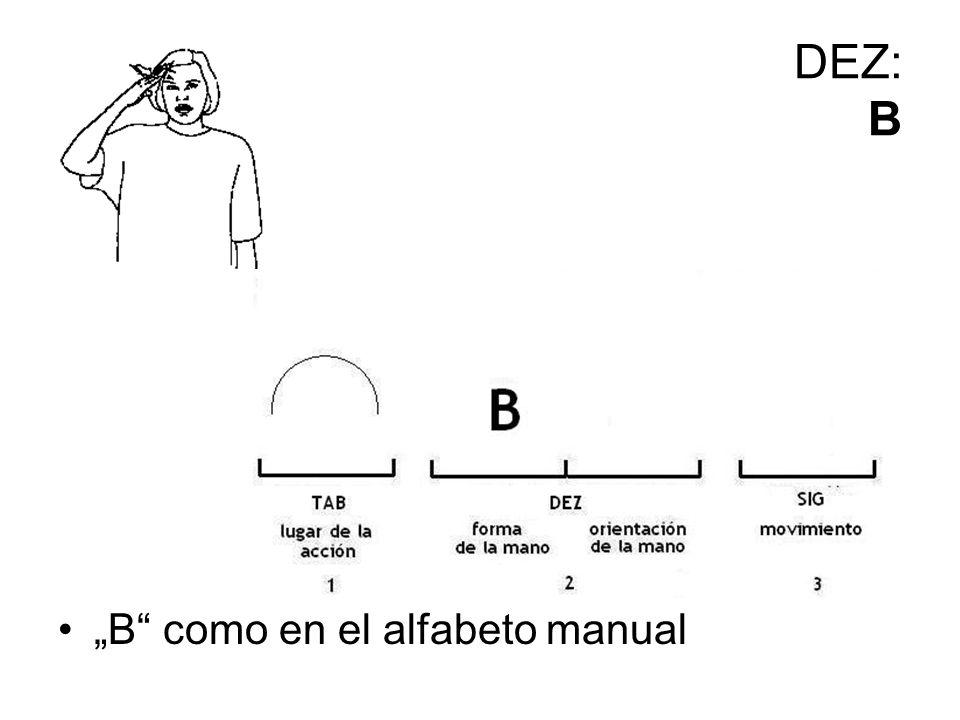 """DEZ: B """"B como en el alfabeto manual"""