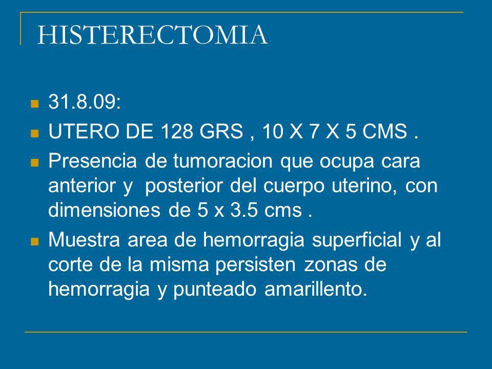 HISTERECTOMIA 31.8.09: UTERO DE 128 GRS , 10 X 7 X 5 CMS .
