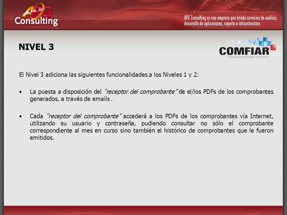 NIVEL 3 El Nivel 3 adiciona las siguientes funcionalidades a los Niveles 1 y 2: