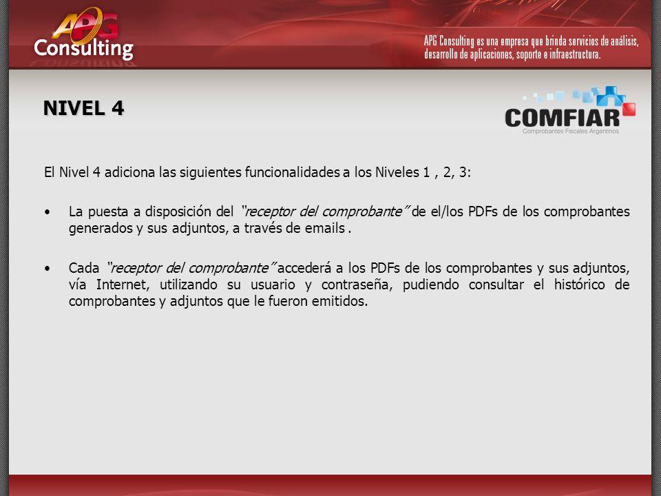 NIVEL 4 El Nivel 4 adiciona las siguientes funcionalidades a los Niveles 1 , 2, 3: