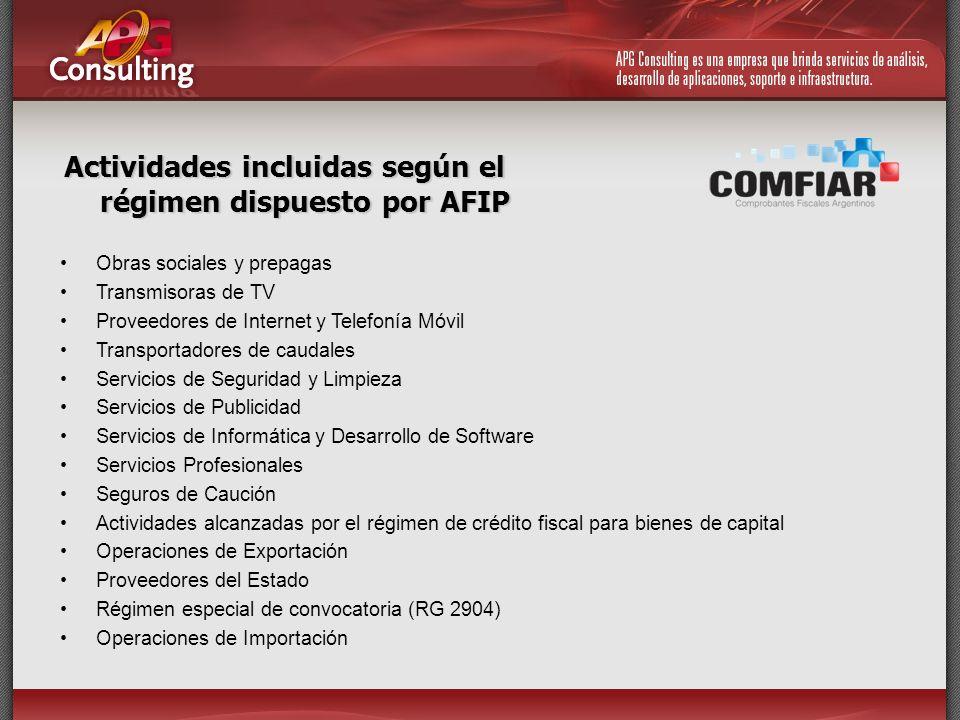 Actividades incluidas según el régimen dispuesto por AFIP