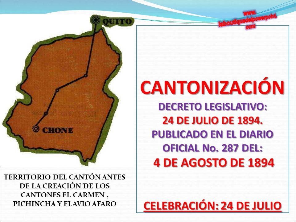 TERRITORIO DEL CANTÓN ANTES DE LA CREACIÓN DE LOS CANTONES EL CARMEN , PICHINCHA Y FLAVIO AFARO