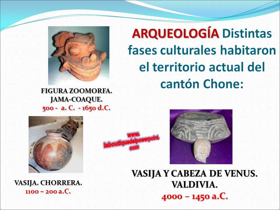 FIGURA ZOOMORFA. JAMA-COAQUE. VASIJA Y CABEZA DE VENUS. VALDIVIA.