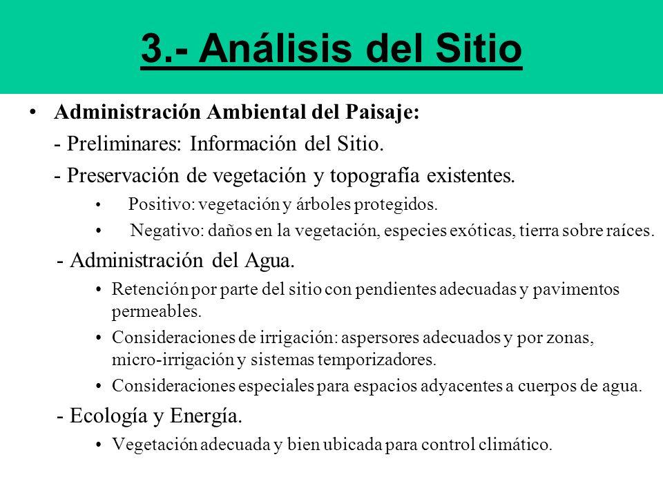 3.- Análisis del Sitio Administración Ambiental del Paisaje: