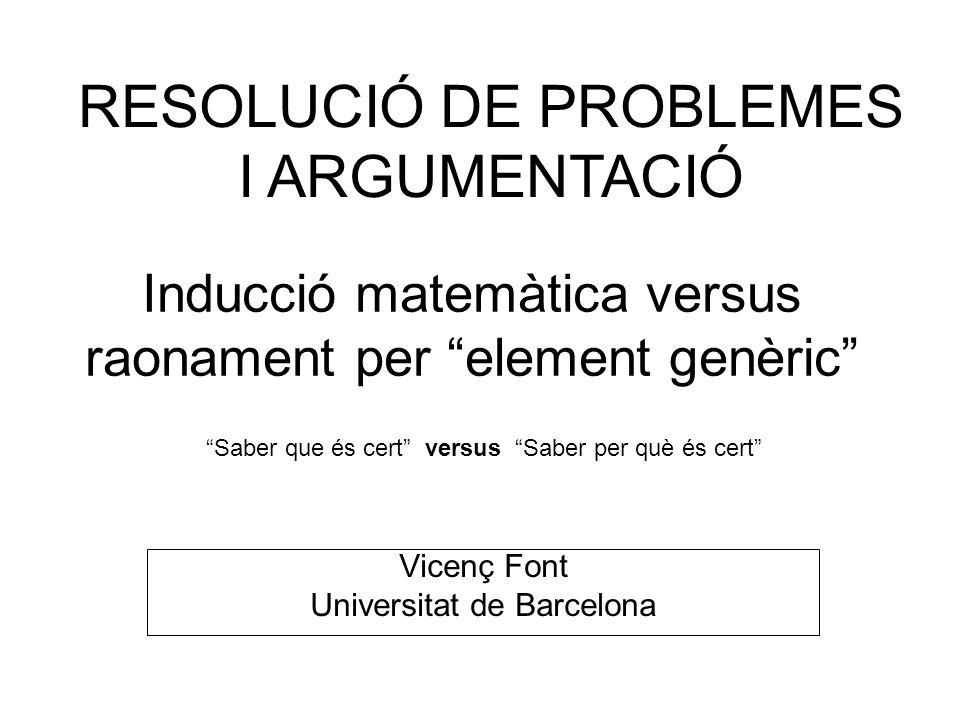Inducció matemàtica versus raonament per element genèric