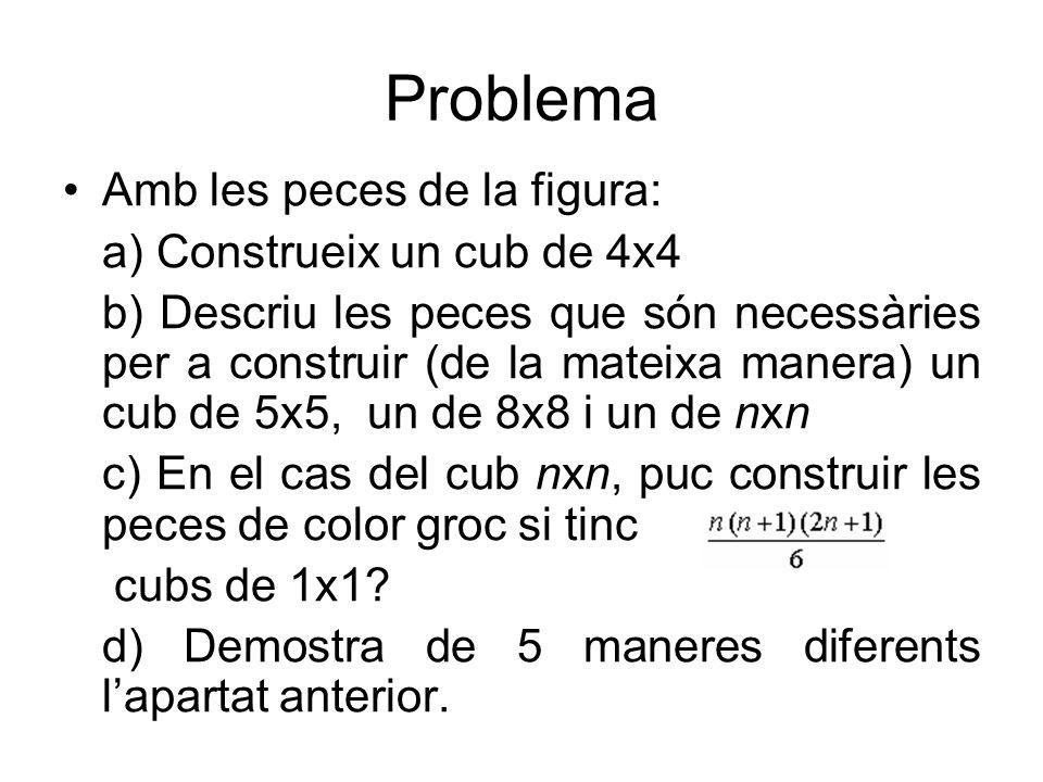 Problema Amb les peces de la figura: a) Construeix un cub de 4x4