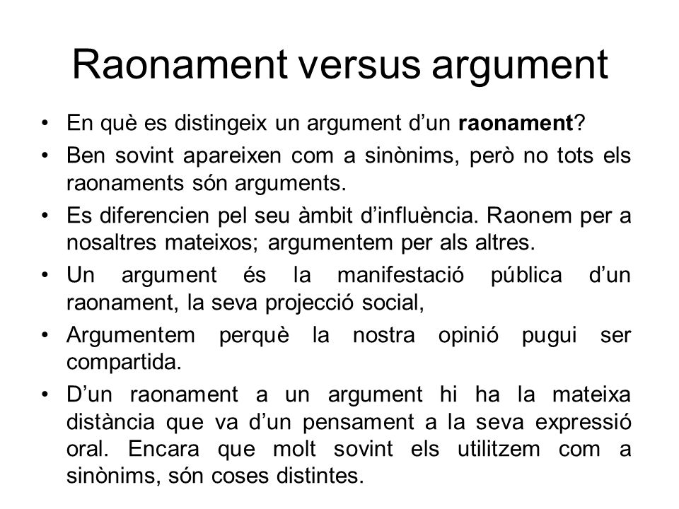 Raonament versus argument