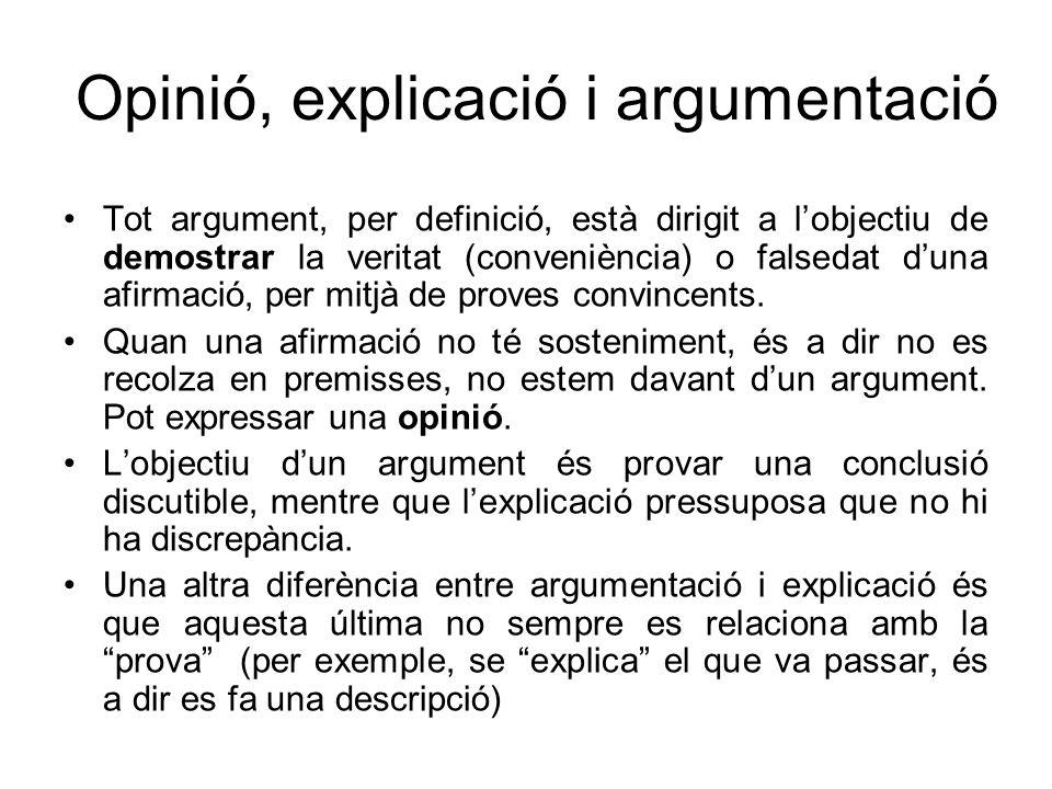 Opinió, explicació i argumentació