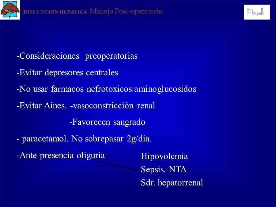 -Consideraciones preoperatorias -Evitar depresores centrales