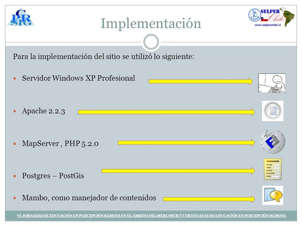Implementación Para la implementación del sitio se utilizó lo siguiente: Servidor Windows XP Profesional.