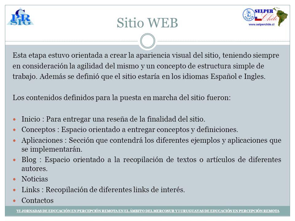 Sitio WEB Esta etapa estuvo orientada a crear la apariencia visual del sitio, teniendo siempre.