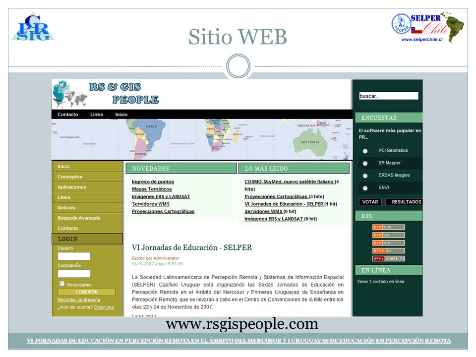 Sitio WEB www.rsgispeople.com.