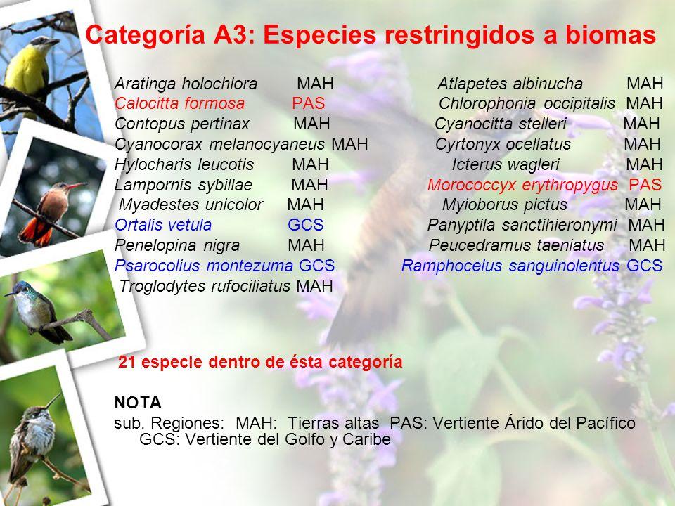 Categoría A3: Especies restringidos a biomas