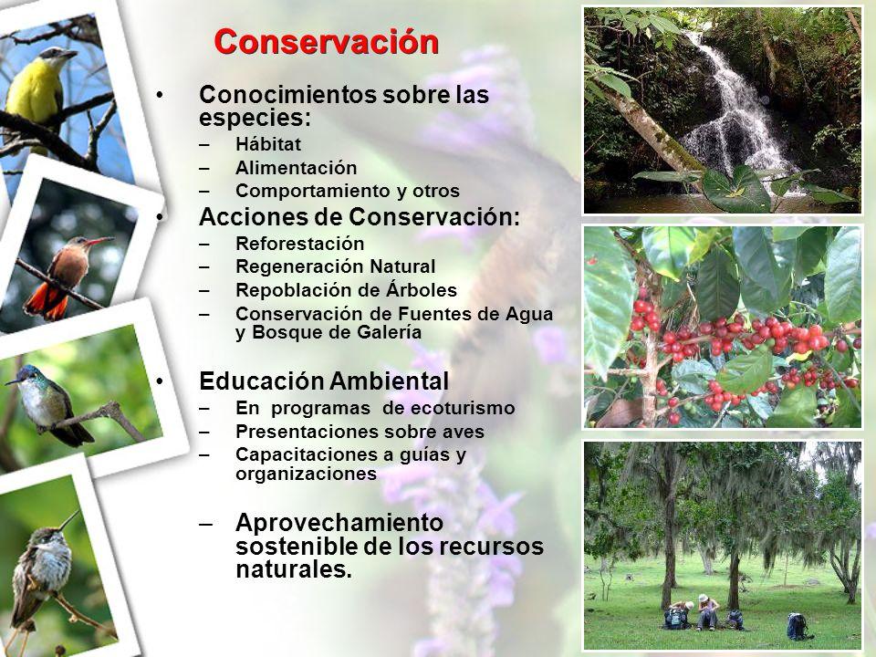 Conservación Conocimientos sobre las especies: