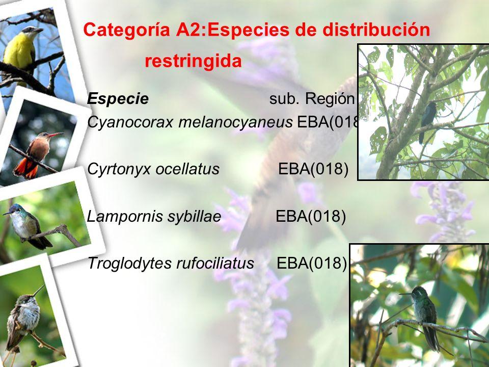 Categoría A2:Especies de distribución restringida