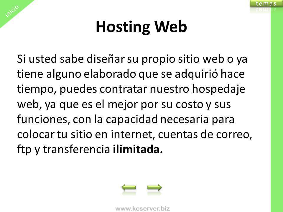 inicio temas. Hosting Web.