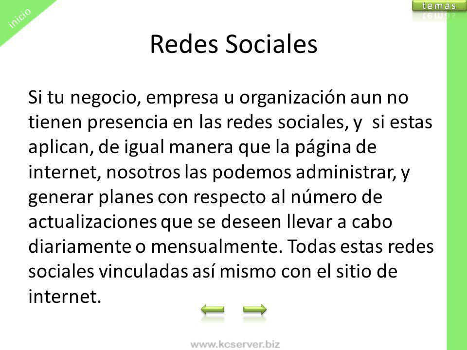 inicio temas. Redes Sociales.