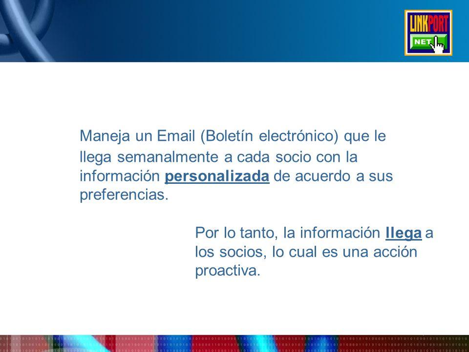 Maneja un Email (Boletín electrónico) que le llega semanalmente a cada socio con la información personalizada de acuerdo a sus preferencias.