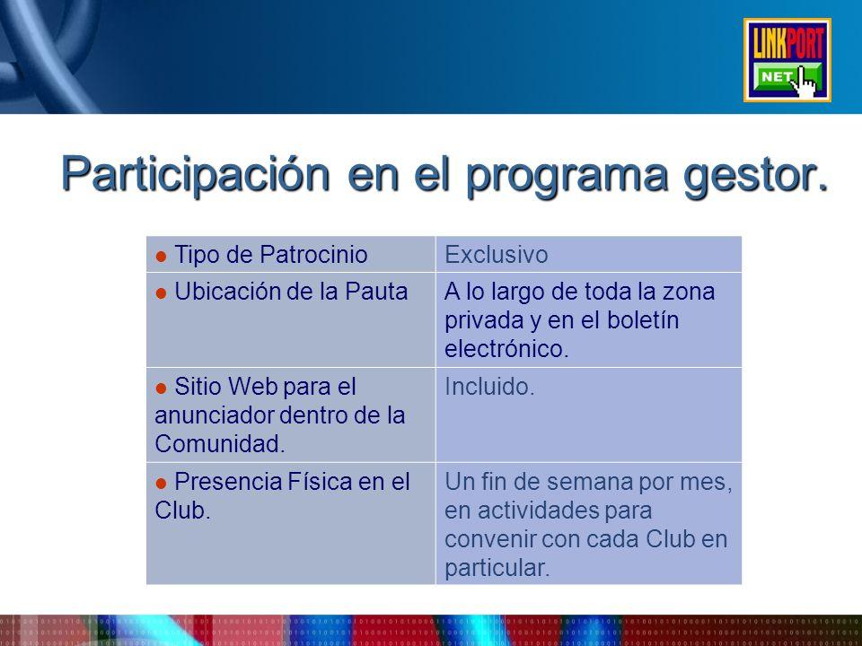 Participación en el programa gestor.