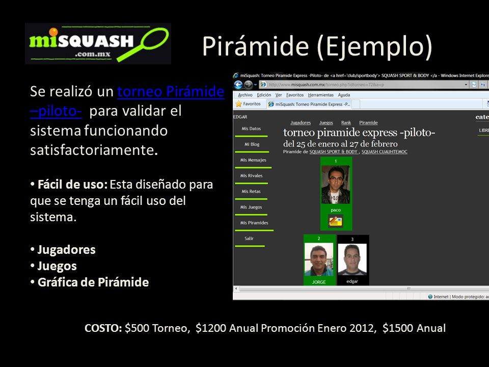 Pirámide (Ejemplo) Se realizó un torneo Pirámide –piloto- para validar el sistema funcionando satisfactoriamente.