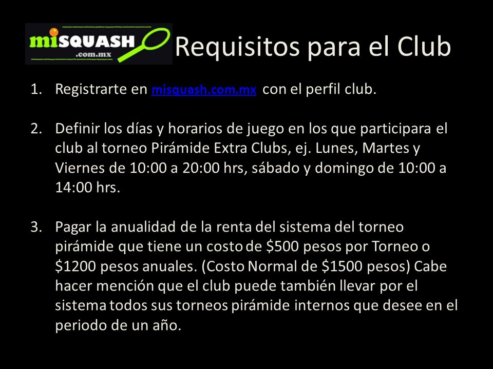 Requisitos para el Club