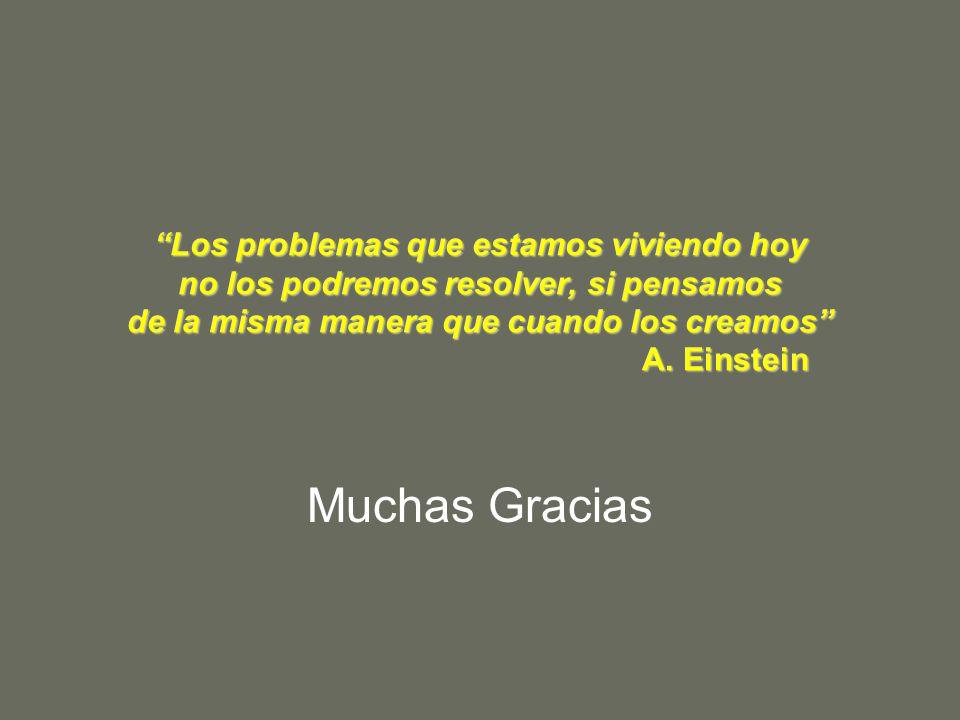 Los problemas que estamos viviendo hoy no los podremos resolver, si pensamos de la misma manera que cuando los creamos A. Einstein
