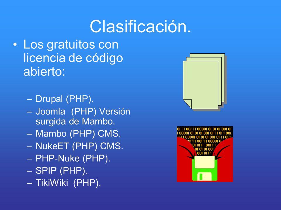 Clasificación. Los gratuitos con licencia de código abierto:
