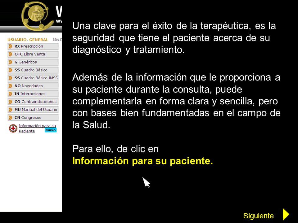 Para ello, de clic en Información para su paciente.
