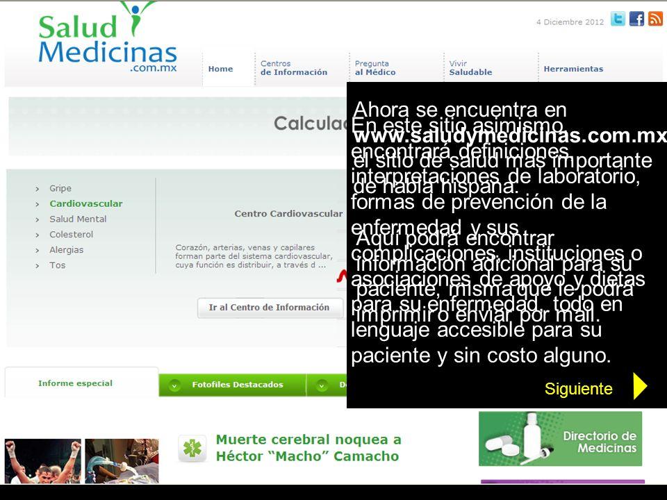 Ahora se encuentra en www. saludymedicinas. com