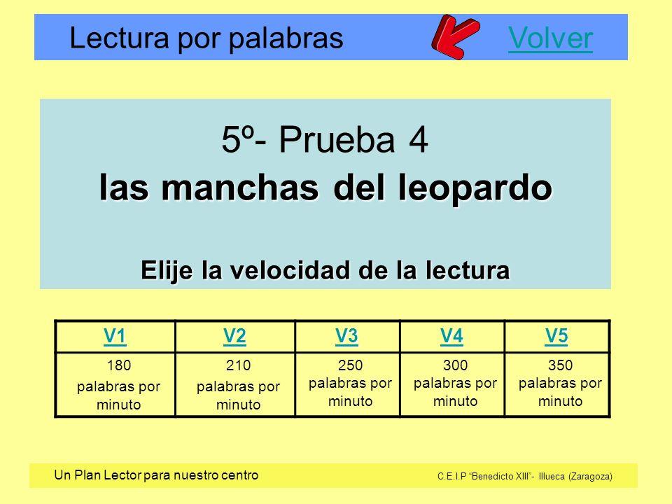 5º- Prueba 4 las manchas del leopardo Elije la velocidad de la lectura