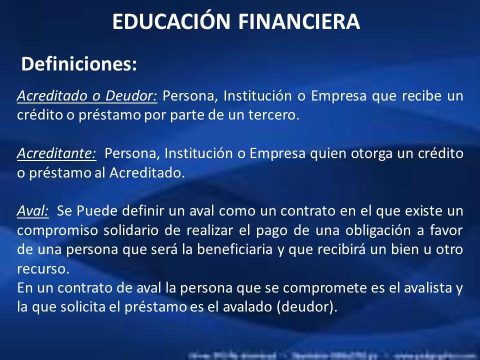 EDUCACIÓN FINANCIERA Definiciones: