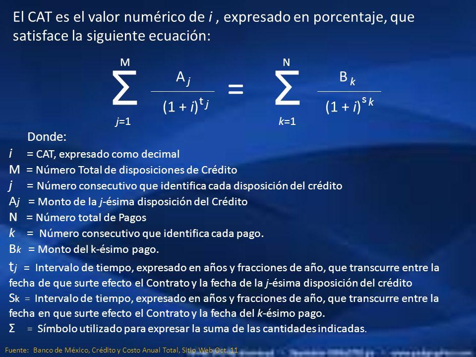 El CAT es el valor numérico de i , expresado en porcentaje, que satisface la siguiente ecuación: