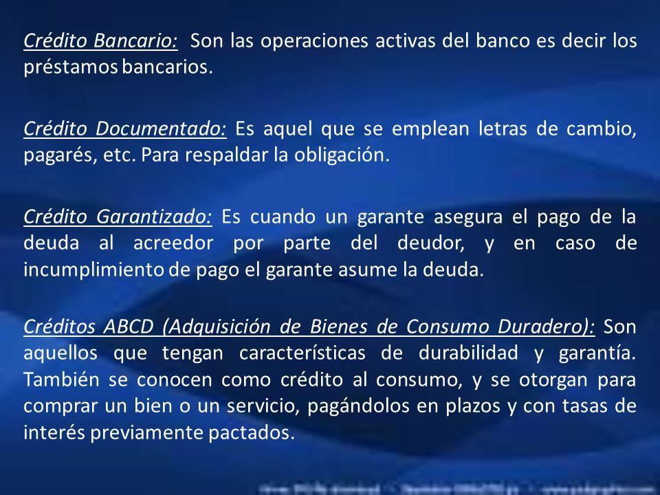 Crédito Bancario: Son las operaciones activas del banco es decir los préstamos bancarios.