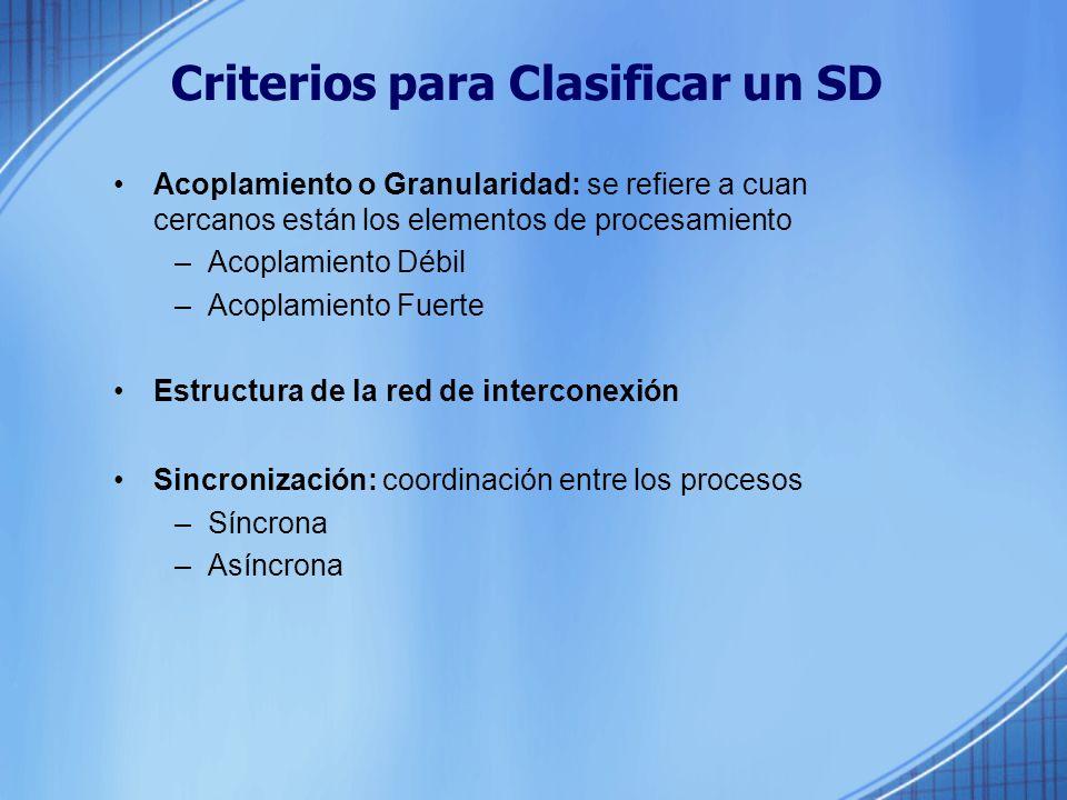 Criterios para Clasificar un SD