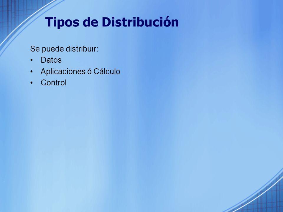 Tipos de Distribución Se puede distribuir: Datos