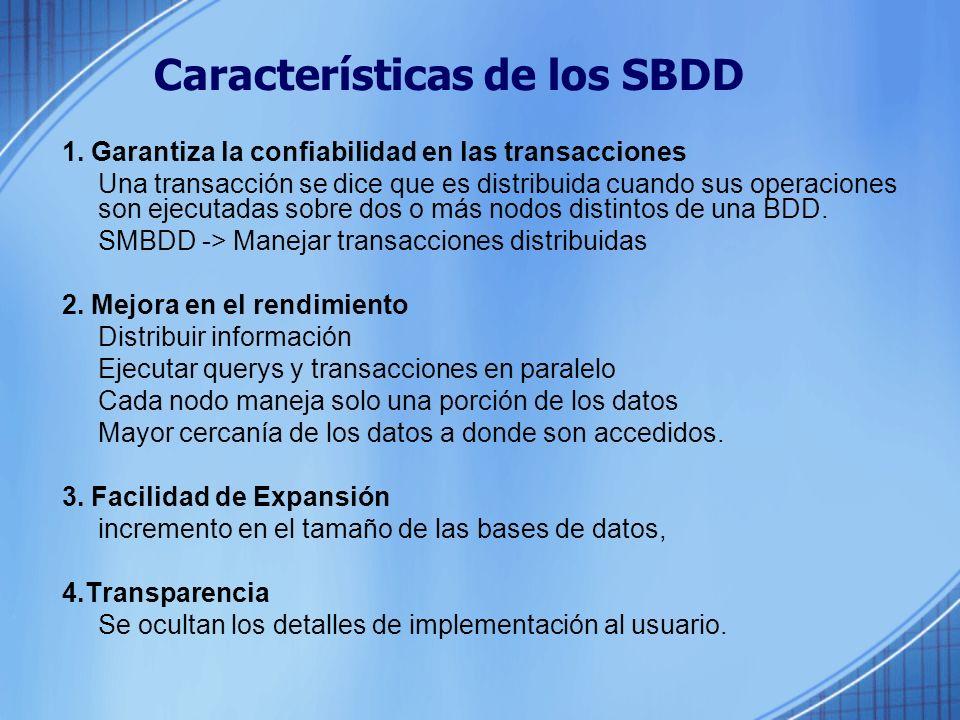 Características de los SBDD