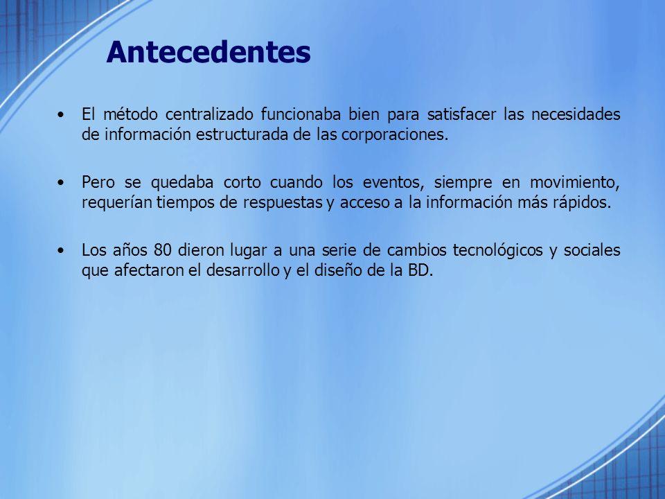 Antecedentes El método centralizado funcionaba bien para satisfacer las necesidades de información estructurada de las corporaciones.