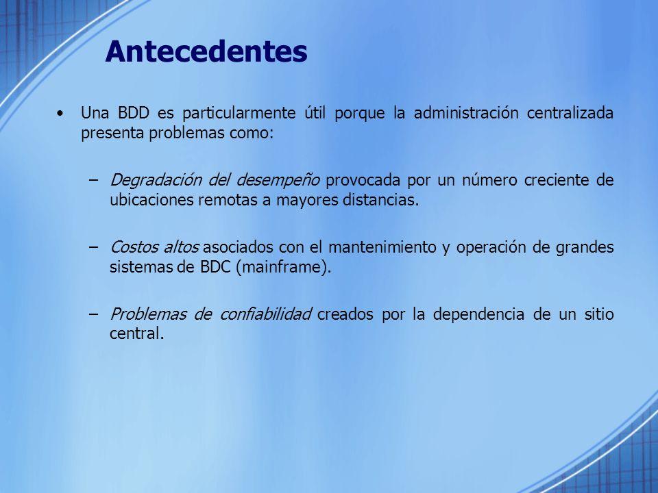 Antecedentes Una BDD es particularmente útil porque la administración centralizada presenta problemas como: