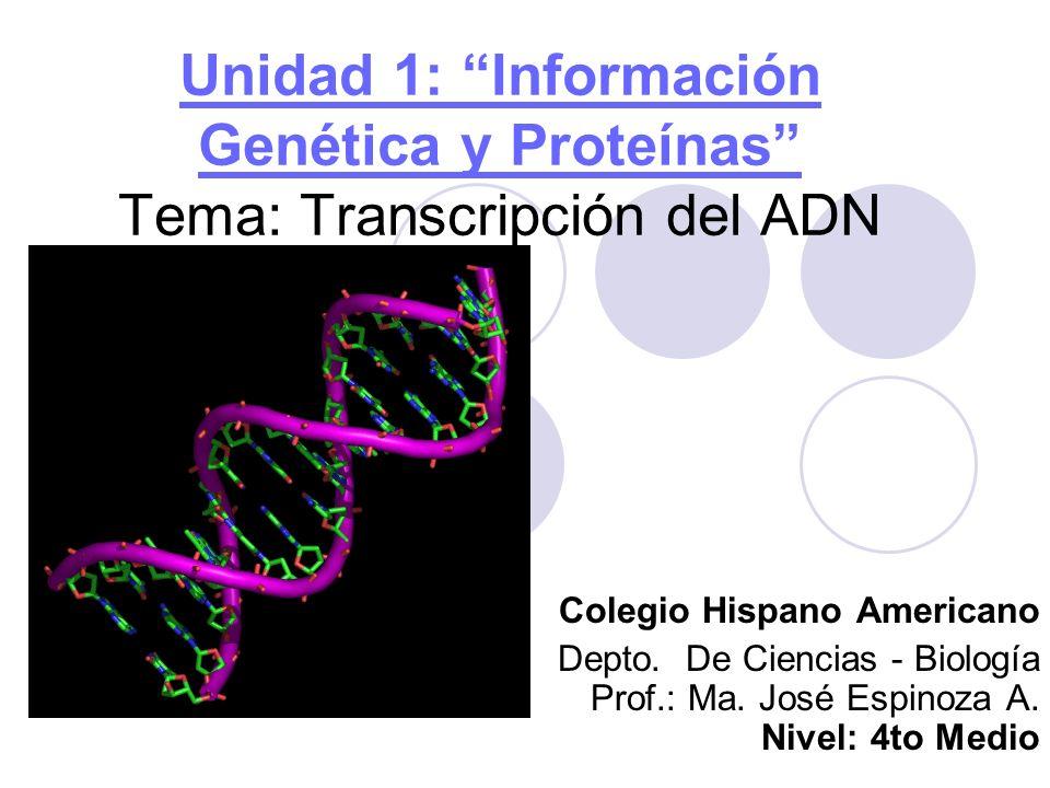 Unidad 1: Información Genética y Proteínas Tema: Transcripción del ADN