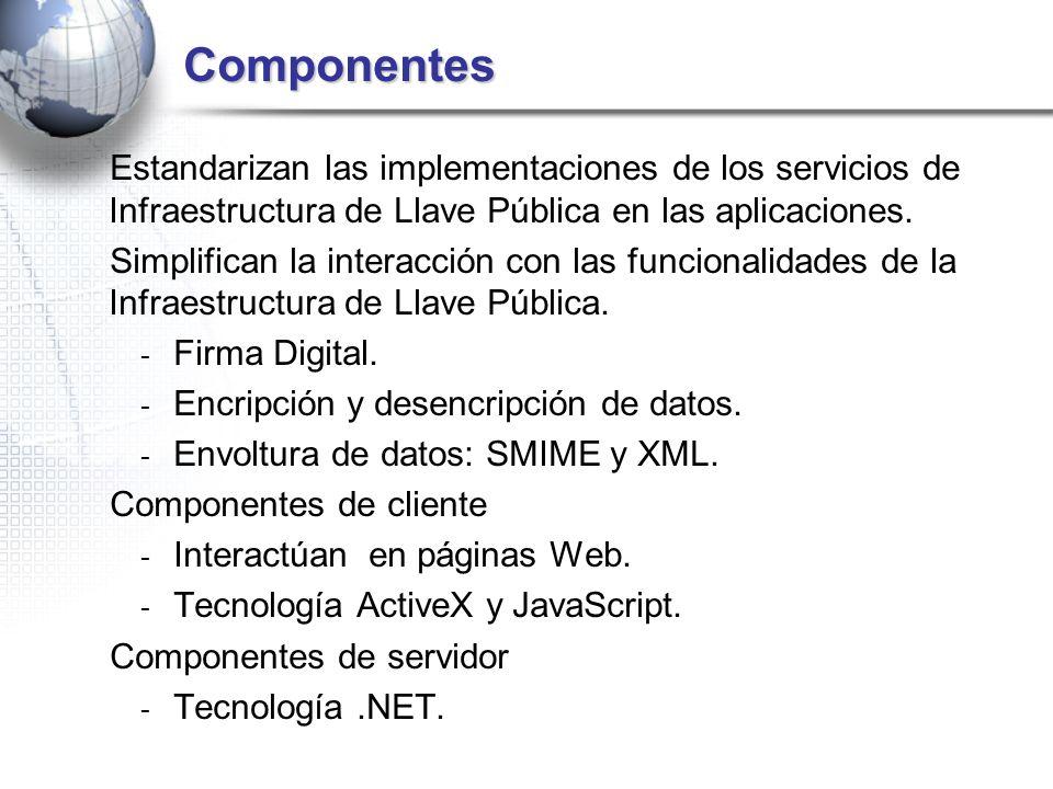 Componentes Estandarizan las implementaciones de los servicios de Infraestructura de Llave Pública en las aplicaciones.
