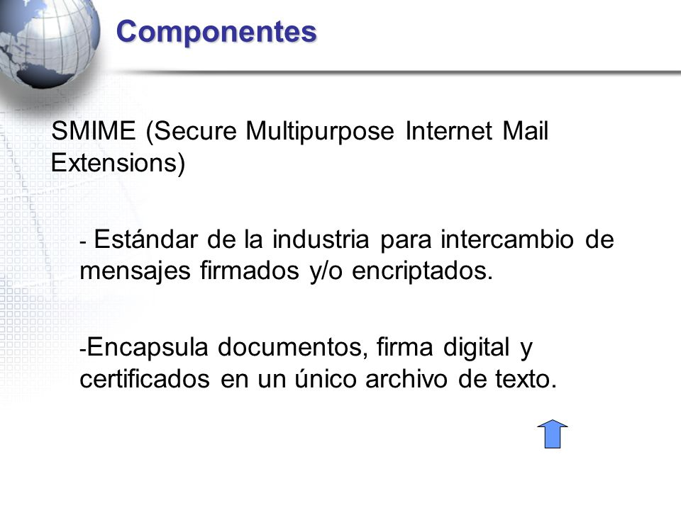 Componentes SMIME (Secure Multipurpose Internet Mail Extensions)