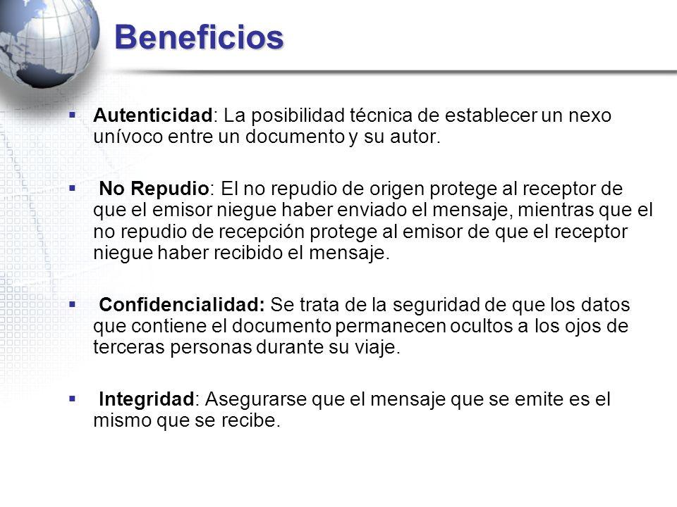 Beneficios Autenticidad: La posibilidad técnica de establecer un nexo unívoco entre un documento y su autor.