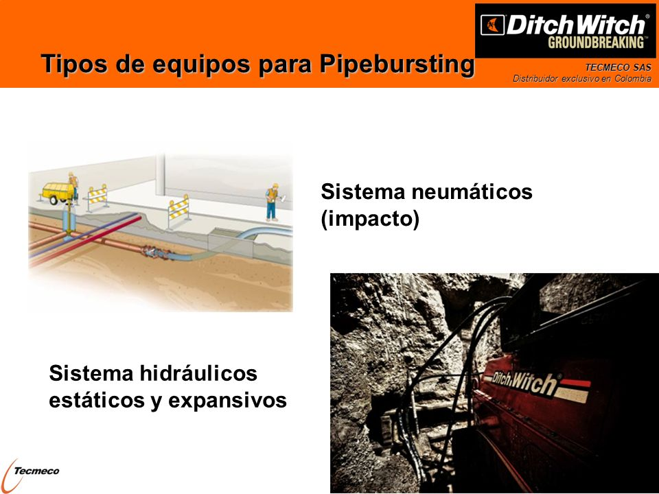Tipos de equipos para Pipebursting